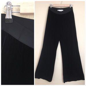 Max Studio black velvet palazzo pants euc